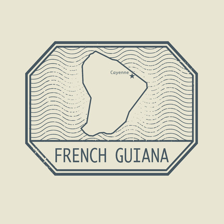 guiana: Stamp with the name and map of French Guiana, vector illustration