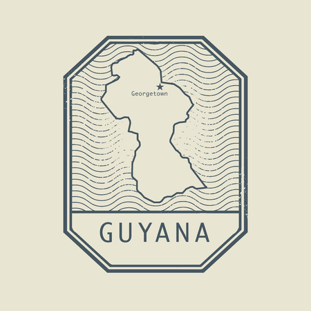 georgetown: Stamp with the name and map of Guyana, vector illustration