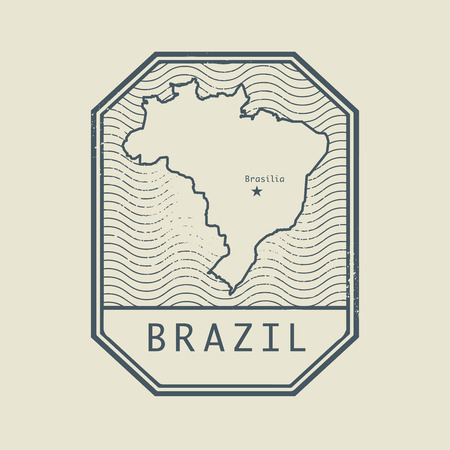 brazil country: Stamp with the name and map of Brazil, vector illustration