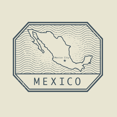 mexico: Stamp with the name and map of Mexico, vector illustration