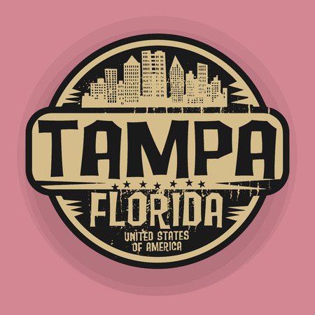 Stamp or label with name of Tampa, Florida, vector illustration Ilustrace
