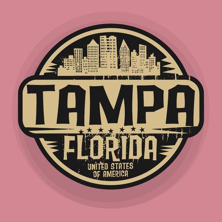 Tampon ou une étiquette avec le nom de Tampa, en Floride, illustration vectorielle Vecteurs