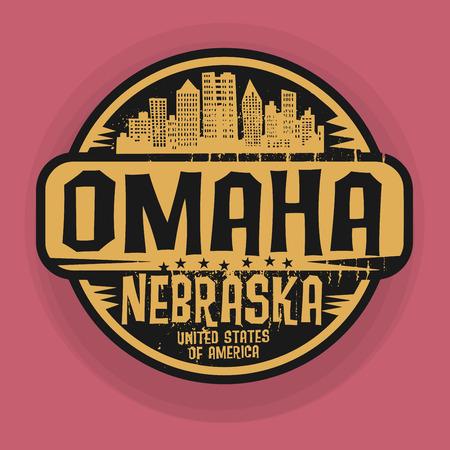 omaha: Stamp or label with name of Omaha, Nebraska, vector illustration Illustration