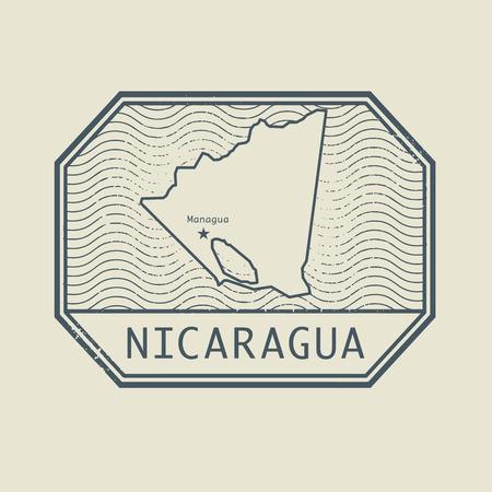 sello: Sello con el nombre y el mapa de Nicaragua, ilustración vectorial