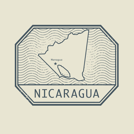 post stamp: Stamp with the name and map of Nicaragua, vector illustration