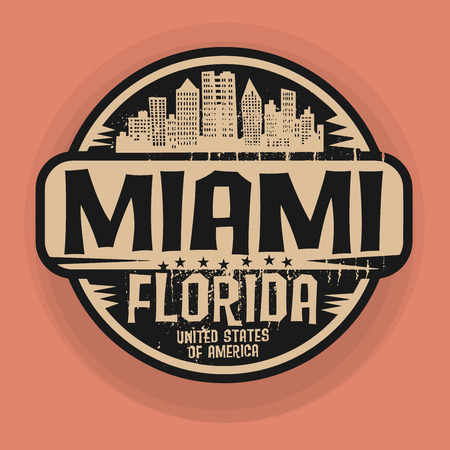 miami florida: Stamp or label with name of Miami, Florida, vector illustration