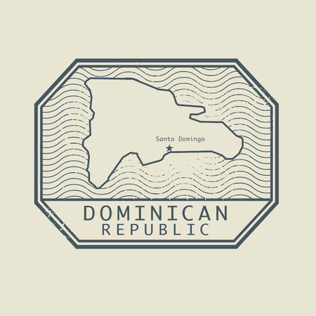 dominican republic: Stamp with the name and map of Dominican Republic, vector illustration Illustration