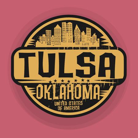 tulsa: Stamp or label with name of Tulsa, Oklahoma, vector illustration Illustration