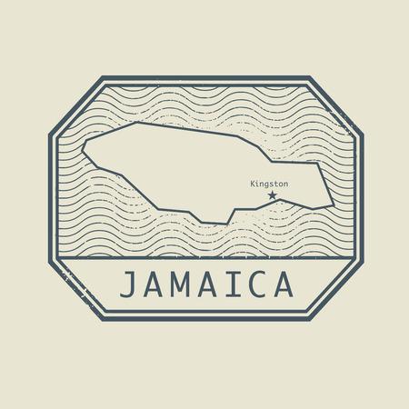 poststempel: Stempel mit dem Namen und der Karte von Jamaika, Vektor-Illustration