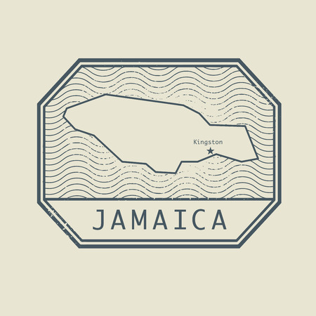 Stamp with the name and map of Jamaica, vector illustration