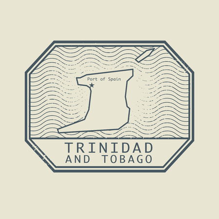 port of spain: Stamp with the name and map of Trinidad and Tobago, vector illustration