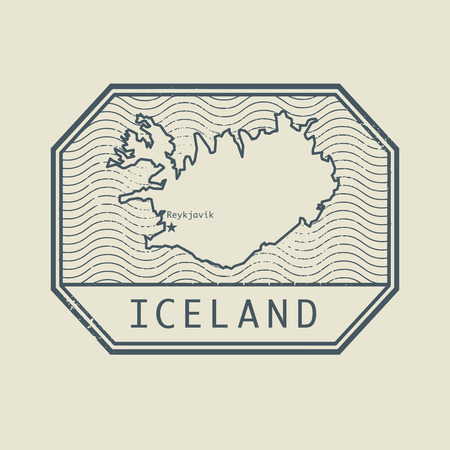 iceland: Stamp with the name and map of Iceland, vector illustration Illustration