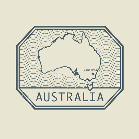 australia stamp: Stamp with the name and map of Australia, vector illustration Vectores