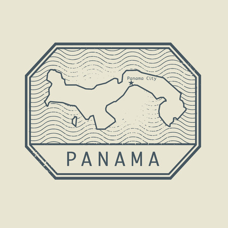 panama: Stamp with the name and map of Panama, vector illustration Illustration
