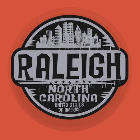 carolina: Stamp or label with name of Raleigh, North Carolina, vector illustration