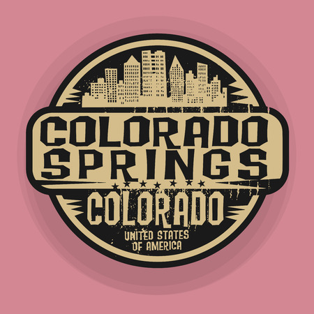 colorado springs: Stamp or label with name of Colorado Springs, Colorado, vector illustration
