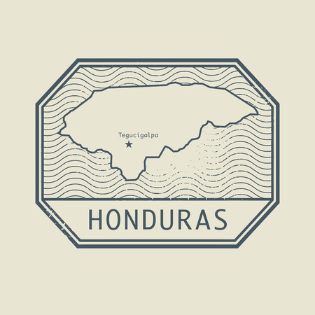 south america: Stamp with the name and map of Honduras, vector illustration
