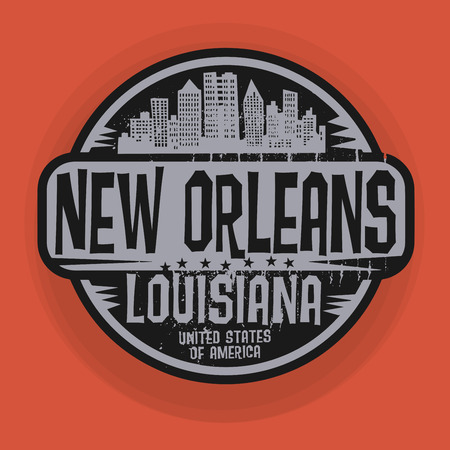 Stamp or label with name of New Orleans, Louisiana, vector illustration