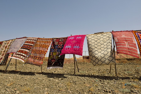 oriental rug: MOROCCO - AUGUST 01: Traditional berber carpets for sale in Morocco, August 01, 2015. Morocco is one of the most popular tourist place in North Africa.
