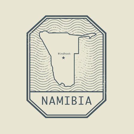 namibia: Stamp with the name and map of Namibia, vector illustration Illustration