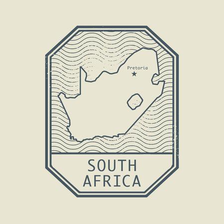 Sello con el nombre y el mapa de África del Sur, ilustración vectorial Foto de archivo - 43895608