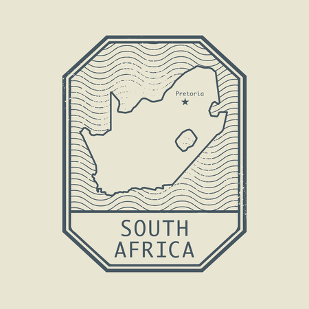 Stamp with the name and map of South Africa, vector illustration Çizim