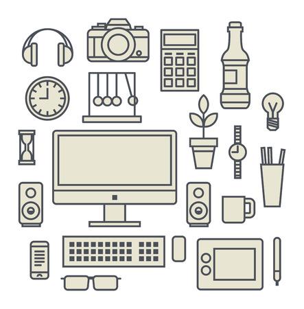 speakers desk: Office workspace. Vector Illustration