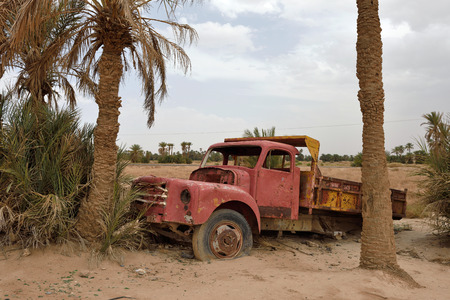 abandonment: Abandoned car in Sahara Desert, Morocco, North Africa