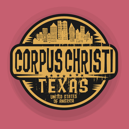 corpus: Stamp or label with name of Corpus Christi, Texas, vector illustration Illustration