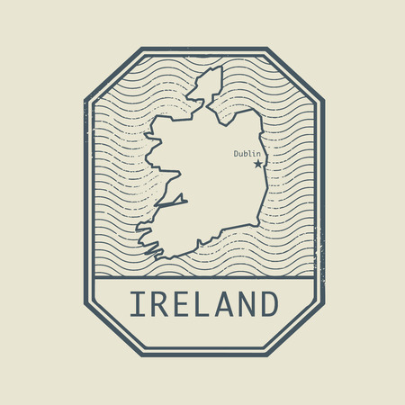 Stamp with the name and map of Ireland, vector illustration Illustration