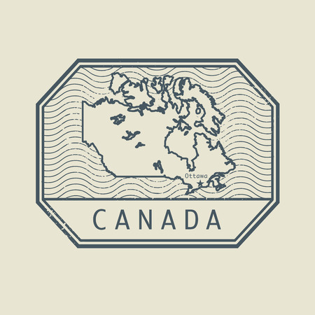 canada stamp: Stamp with the name and map of Canada, vector illustration