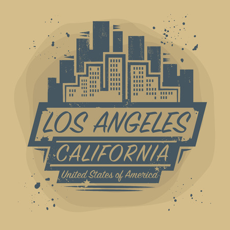 vintage stamp: Stamp or label with name of Los Angeles, California, vector illustration