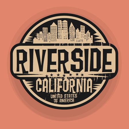 Stamp or label with name of Riverside, California, vector illustration