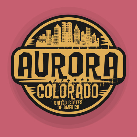 aurora: Stamp or label with name of Aurora, Colorado, vector illustration