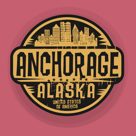 anchorage: Stamp or label with name of Anchorage, Alaska, vector illustration