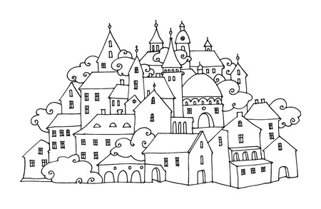 ink drawing: Cartoon hand drawing houses Illustration