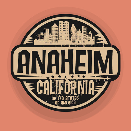Stamp or label with name of Anaheim, California, vector illustration