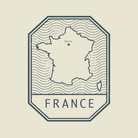 france stamp: Stamp with the name and map of France, vector illustration