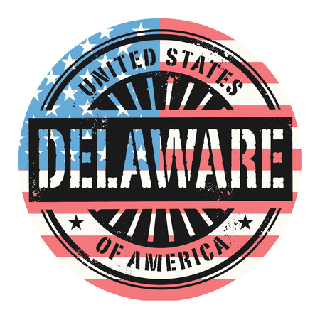 american cities: Grunge rubber stamp with the text United States of America, Delaware, vector illustration