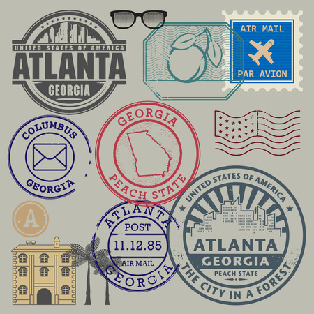 postman: Retro postage stamps set, vector illustration