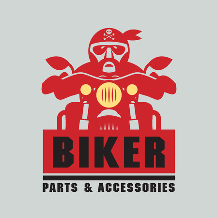 motocycle: Stamp or label with the words Biker, Parts & Accessories inside, vector illustration Illustration