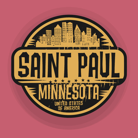 paul: Stamp or label with name of Saint Paul, Minnesota, vector illustration