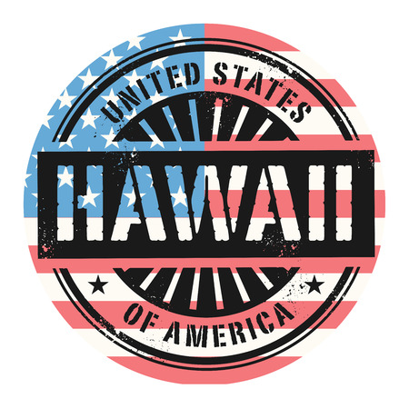 old postcards: Grunge rubber stamp with the text United States of America, Hawaii, vector illustration