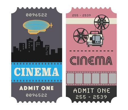 ticket: Retro cinema ticket, vector illustration