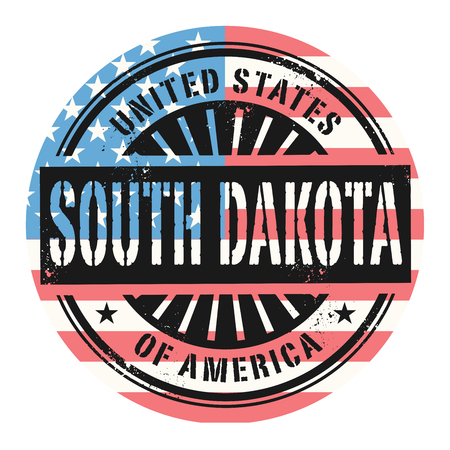 identifier: Grunge rubber stamp with the text United States of America, South Dakota, vector illustration