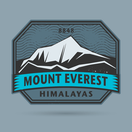 Mountainside: Stamp or label with the Mount Everest, vector illustration Ilustracja