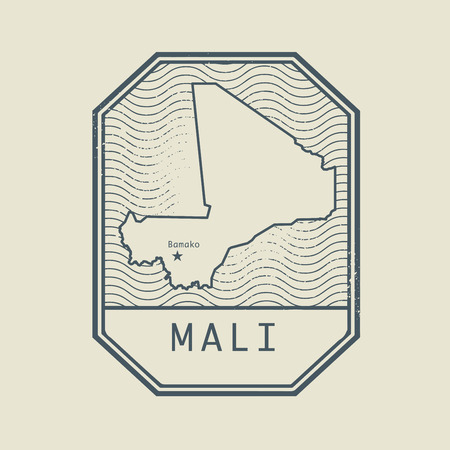 bamako: Stamp with the name and map of Mali, vector illustration Illustration