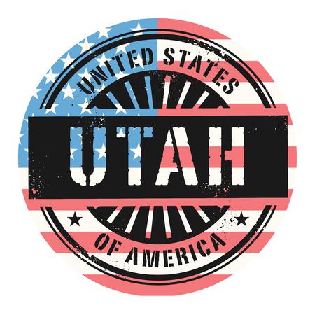 grunge rubber stamp: Grunge rubber stamp with the text United States of America, Utah, vector illustration