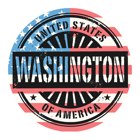 state: Grunge rubber stamp with the text United States of America, Washington, vector illustration