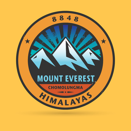mountainside: Stamp or label with the Mount Everest, vector illustration Illustration